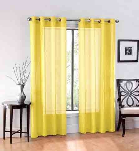 Spring Bedding Collection and Matching Curtains - Ruthy's Textile 2 Piece Window Sheer Curtains Grommet Panels 54 X 84 Total 108 X 84 Inch Length for Bedroom Living Room Color Yellow