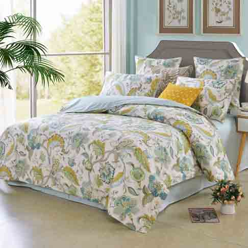 Softta Luxury European Floral Leaves Bedding Green Queen 3 Pcs Baroque Duvet Cover Set 100% Egyptian Cotton 800 Thread Count Blue Yellow Super Soft Hypoallergenic