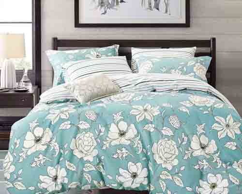 Swanson Beddings Blue Floral 3-Piece 100% Cotton Bedding Set Duvet Cover and Two Pillow Shams (Queen)