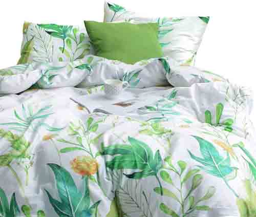 Wake In Cloud - Floral Duvet Cover Set, 100% Cotton Bedding, Botanical Flowers and Green Tree Leaves Pattern Printed on White, with Zipper Closure (3pcs, Queen Size)