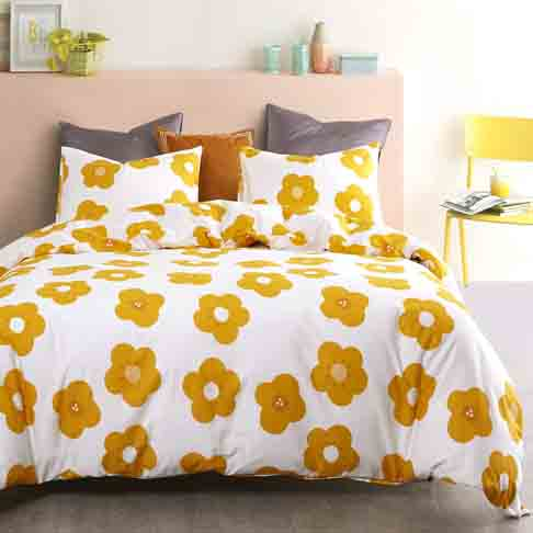 Wake In Cloud - Floral Duvet Cover Set, 100% Cotton Bedding, Yellow Flower Pattern Printed on White, with Zipper Closure (3pcs, Queen Size)