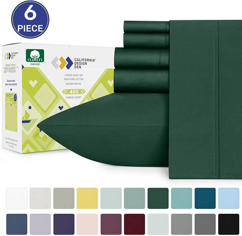 400-Thread-Count Queen Bed Sheet Set - Real Cotton Hunter Green Sheets, Premium Sateen Weave 6 Piece Bedding Set, Elasticized Deep Pocket Fits Low Profile Foam and Tall Mattresses