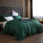 Emerald Green Bedding - Emerald Green Duvet Kingotton 3 Piece 1200 Thread Count Luxury Bedding Set- Button Closure & Corner Ties, Solid Color Breathable Comforter Protective Layer (Emerald Green)