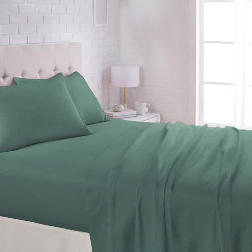 AmazonBasics Lightweight Super Soft Easy Care Microfiber Bed Sheet Set with 16 inch Deep Pockets - King, Emerald Green