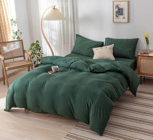DONEUS Green Duvet Cover Queen, Jersey Knit Cotton Duvet Cover Set 3 Pieces Ultra Soft Solid Pattern Bedding Set,1 Duvet Cover and 2 Pillow Shams, Easy Care and Super Soft Duvet Cover Set