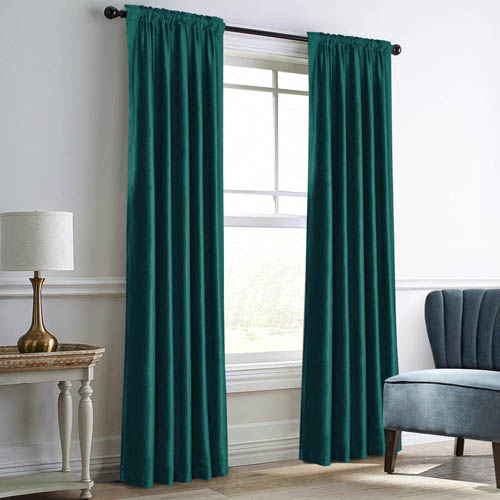 Dreaming Casa Teal Green Velvet Curtains for Living Room Thermal Insulated Rod Pocket Back Tab Window Curtain for Bedroom 2 Panels 52 inch W x 84 inch L
