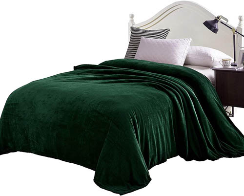 Exclusivo Mezcla Super Soft Queen Size Flannel Fleece Blanket as Bed Cover Bedspread - Coverlet(90 x 90, Forest Green) - Plush, Lightweight, Warm and Cozy