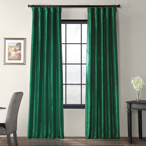 HPD Half Price Drapes PTCH-JTSP208-108 Faux Silk Taffeta Curtain (1 Panel), 50 X 108, Emerald Green