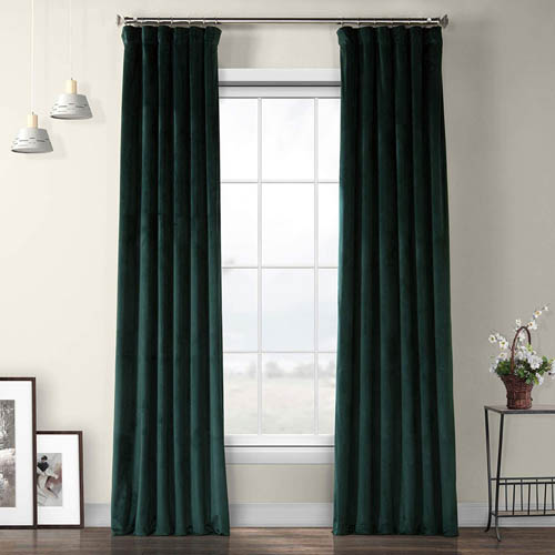 HPD Half Price Drapes VPYC-179759-108 Heritage Plush Velvet Curtain (1 Panel), 50 X 108, Forestry Green