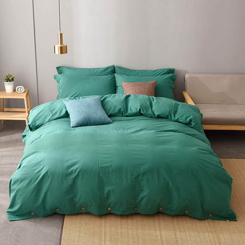JELLYMONI Emerald Green 100% Washed Cotton Duvet Cover Set, 3 Pieces Luxury Soft Bedding Set with Buttons Closure. Solid Color Pattern Duvet Cover Queen Size(Without Comforter)