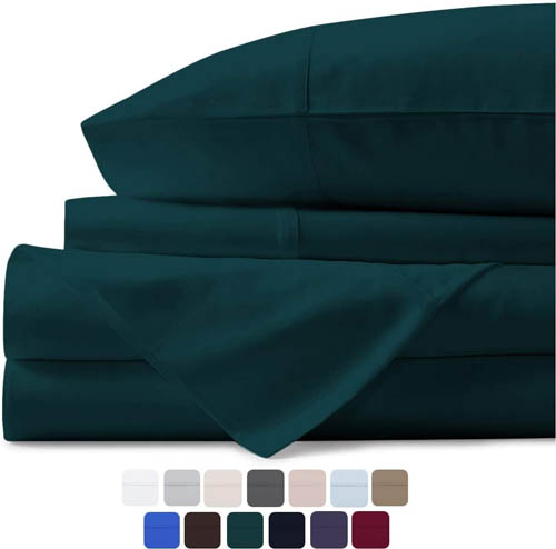 Mayfair Linen 100% Egyptian Cotton Sheets, Teal Queen Sheets Set, 600 Thread Count Long Staple Cotton, Sateen Weave for Soft and Silky Feel, Fits Mattress Upto 18'' DEEP Pocket