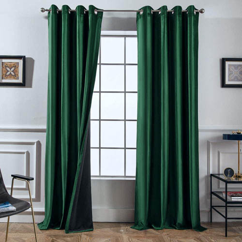 Emerald Green Bedding Blackout Matching Curtains.