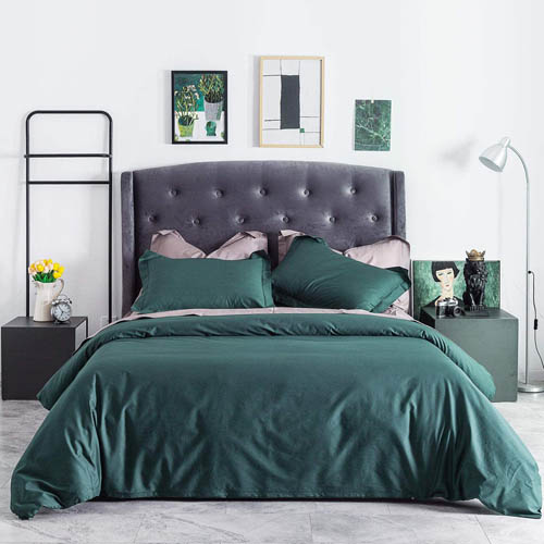 SUSYBAO 3 Piece Duvet Cover Set King Size 100% Natural Cotton Dark Green Bedding Set 1 Solid Duvet Cover with Hidden Zipper Ties 2 Pillow Shams Luxury Quality Soft Breathable Comfortable Durable