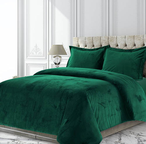 Tribeca Living VENICEDUVETKIEG Venice Velvet Oversized Solid Duvet Set, King, Emerald Green