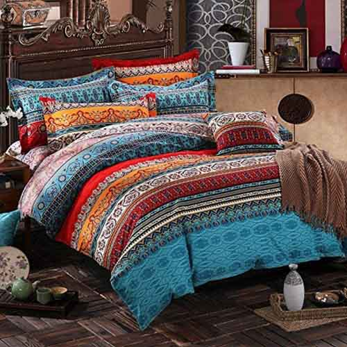 CCoutueChen Bohemian Duvet Cover Set Queen Boho Chic Tribal Orange Aqua Red Exotic Striped Pattern Comforter Covers Mandala Bedding Soft Microfiber Poly-Cotton Quilt Cover 3pcs,90x90