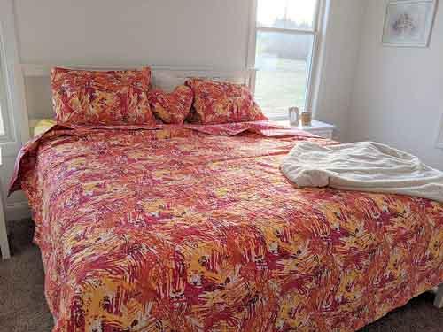 DaDa Bedding Fall Reversible Bedspread Set - Hawaiian Star Burst Pop Hawaiian Multi Colorful - Bright Vibrant Pink Orange Purple - Full - 3-Pieces