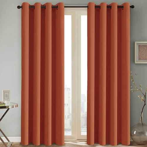 H.VERSAILTEX Thermal Insulated Blackout Room Darkening Nursery Baby Care Curtains,Grommet Panels,52 by 84 - Inch - Burnt Orange - Set of 2
