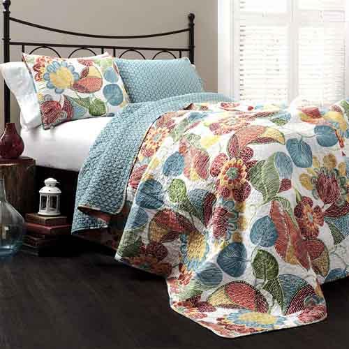 Lush Decor Layla Quilt Floral Leaf Print 3 Piece Reversible Bedding Set Full Queen Orange & Blue