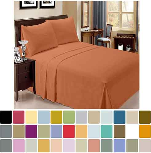 LuxClub 6 PC Sheet Set Bamboo Sheets Deep Pockets 18in Eco Friendly Wrinkle Free Sheets Hypoallergenic Anti-Bacteria Machine Washable Hotel Bedding Silky Soft - Autumn Orange Queen