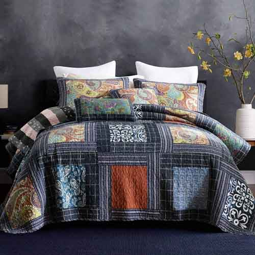 NEWLAKE Bedspread Quilt Set with Real Stitched Embroidery, Paisley Grid Pattern,Queen Size