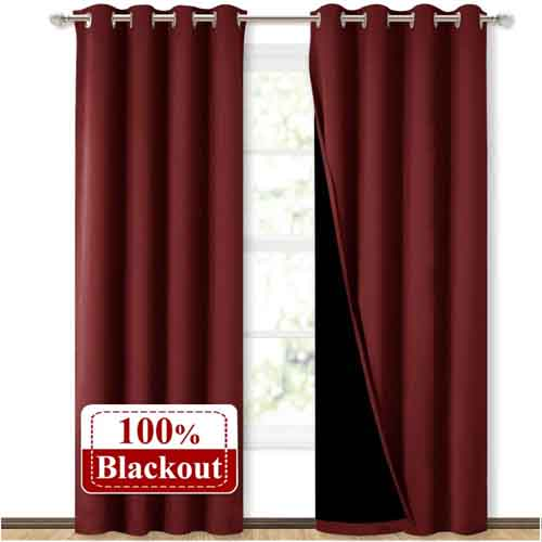 NICETOWN 100% Blackout Curtains with Black Liner Backing, Thermal Insulated Curtains for Living Room, Noise Reducing Drapes, Burgundy Red, 52 inches x 84 inches Per Panel, Set of 2