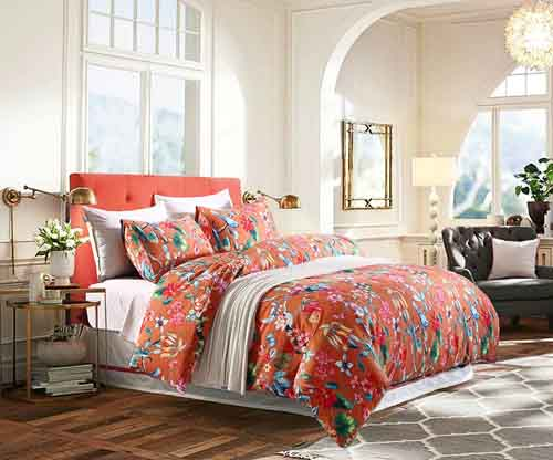 Tropical Garden Luxury 3 Piece Duvet Cover Set Island Tree Branch and Birds Multicolored Floral Pattern 100-percent brushed Cotton Twill (Queen)