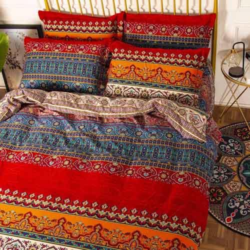 YOU SA Bohemia Retro Printing Bedding Ethnic Vintage Floral Duvet Cover Boho Bedding 100% Brushed Cotton Bedding Sets (Queen,01)
