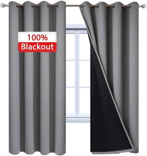 Yakamok 100percent Blackout Curtains 84 Inches Long, 2 Thick Layers Heat and Full Light Blocking Soft Thermal Insulated Drapes for Bedroom(52inces Wide Each Panel, Grey, 2 Panels)
