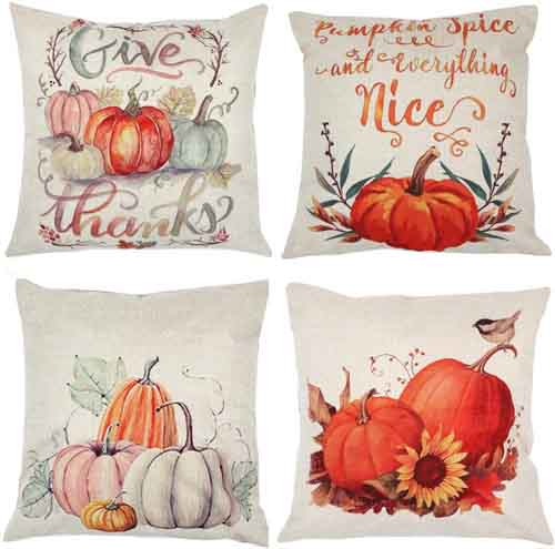 ZUEXT Fall Pumpkin Harvest Decorative Pillowcases 4 Pack, Autumn Thanksgiving Pillow Covers Square 18x18 inch, Halloween Cotton Linen Throw Pillow Covers for Car Sofa Bed Couch
