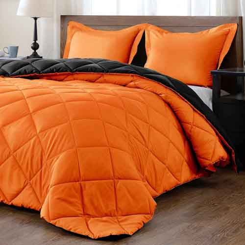 downluxe Lightweight Solid Comforter Set (Queen) with 2 Pillow Shams - 3-Piece Set - Orange and Black - Down Alternative Reversible Comforter