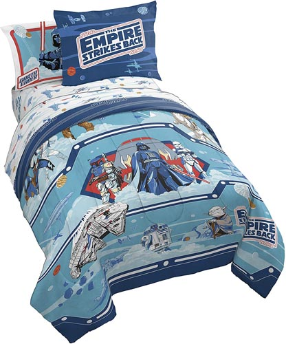 Jay Franco Star Wars Empire Strikes Back 40th Anniversary 5 Piece Twin Bed Set - Includes Reversible Comforter & Sheet Set Bedding - Super Soft Fade Resistant Microfiber (Official Star Wars Product)