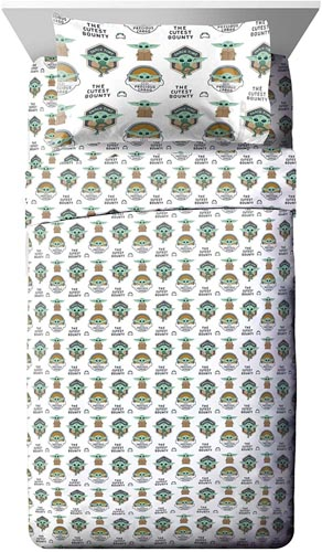 Jay Franco Star Wars The Mandalorian The Child Twin XL Sheet Set - 3 Piece Set Super Soft and Cozy Kid's Bedding Features Baby Yoda - Fade Resistant Microfiber Sheets (Official Star Wars Product)