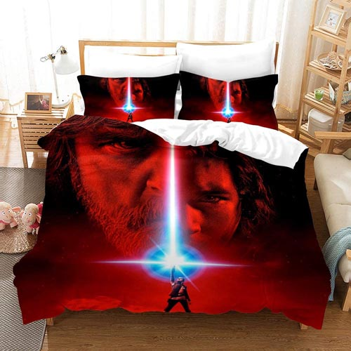 Lianai Star Wars Bedding Sets for Boys Queen Size 3 Piece Soft Red Duvet Cover Sets, 1 Duvet Cover + 2 Pillowcases