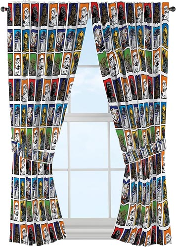 """Star Wars Classic 63"""" Drapery Curtain 4pc Set (2 Panels, 2 Tie backs) - R2D2, C3PO, Chewbacca, Darth Vader, Stormtrooper - Official Star Wars Product"""