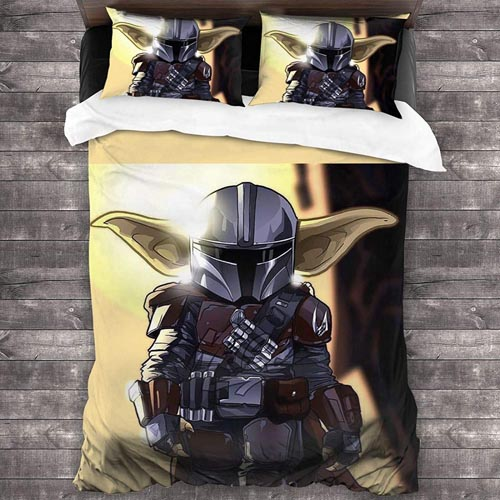 Star Wars Bedding and Curtain Set - The Mandalorian Baby Yoda Bedding Full.